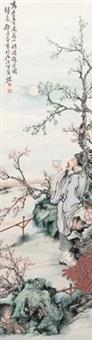 花下酌酒图 by xu ju'an