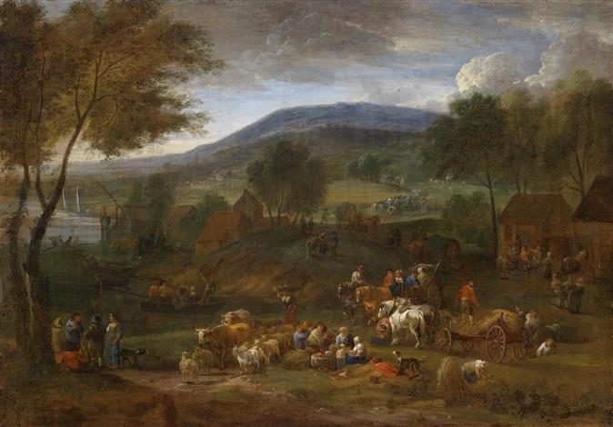 weite landschaft mit bäuerlicher staffage by adrian fransz boudewijns and pieter bout
