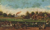 cotton harvest with mississippi paddlewheeler in the background by h. kahn