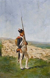 ein grenadier in der landschaft by jean louis ernest meissonier