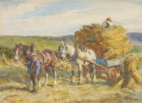 figures with horses pulling a hay cart by john gunson atkinson