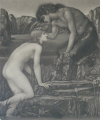 pan and psyche (after sir edward coley burne-jones) by charles william campbell
