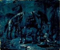 drei pferde und federvieh by jacob matthias weyer