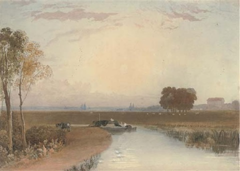 barging on the fens by george fennel robson