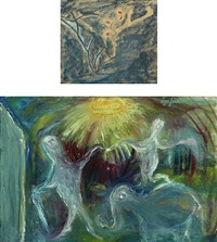 composition (+ another; mixed media on paper, smllr; 2 works) by aage fredslund-andersen