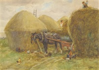 figures harvesting, a horse drawn cart nearby by john atkinson