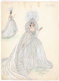 mrs. earl carr, past queen (costume design, for krewe of moslem?)(+ 4 others; 5 works) by lucia and philip liuzza