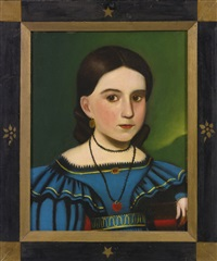 portrait of a young dark-haired girl in a blue dress and red locket by john sherburne blunt