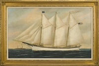 the three-masted schooner grace k. green off the twin lights of thatcher island, cape ann by william pierce stubbs