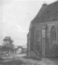 schwäbische kirche im abendlicht by hermann herdtle