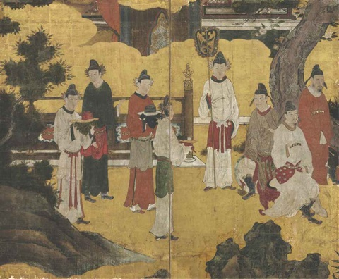 chinese courtiers from emperor xuanzong playing the flute genso heitekisu in 2 parts by japanese school kano 16