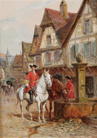 huntsmen outside the tavern by raymond desvarreux-larpenteur