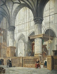 interior of a church in schenkel, the netherlands by jan jacob schenkel