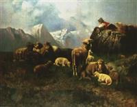 schafherde mit hirte in den bergen by georg hilgers