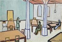wartende in einer halle mit tischen und stühlen (+ südliche stadt mit mauerbefestigung, 1962, lithograph, smllr; 2 works by willibald kramm