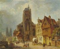 kirchplatz eines alten städtchen mit staffagefiguren by ivo ambroise vermeersch