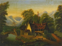 tumble-down cottage by a stream, a black woman in the yard by thomas chambers
