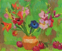 stillleben mit anemonen, lilien und äpfel by hans böhler