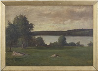 view from the shore of a lake by charles linford