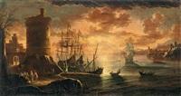 mediterrane küstenlandschaft mit figuren und fischern vor einem turm im sonnenuntergang by adriaen van der cabel