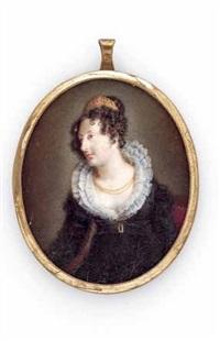 halbporträt einer vornehmen dame im empirekleid mit spitzenkragen und diadem by louis ami arlaud-jurine