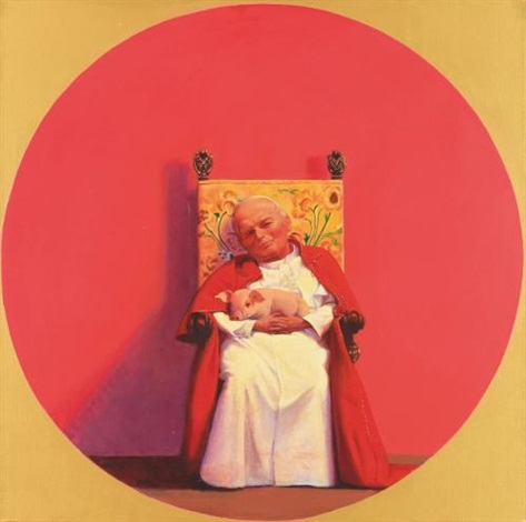 the pope rescues a small pig by liu ye