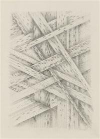porträt adam seide 1972 / ohne titel 1977 (2 works) by thomas bayrle