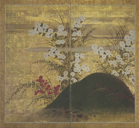 chrysanthemums and autumn grasses in 2 parts by japanese school sotatsu 17