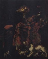 stilleben mit früchten, einem silbergefäss, hunden und einem papagei by guilliam gabron