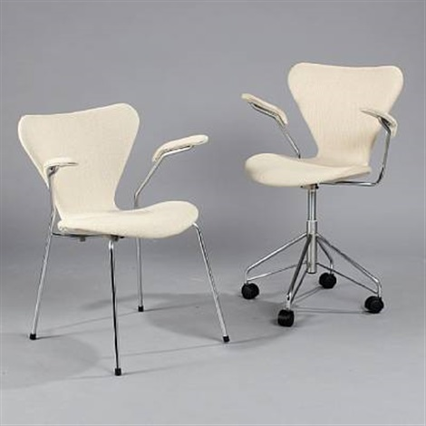 the seven chair swivel chair and an armchair model 3217 and 3207 set of 2 by arne jacobsen