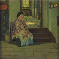 portrait einer alten frau in bäuerlichem interieur by alfred rasenberger