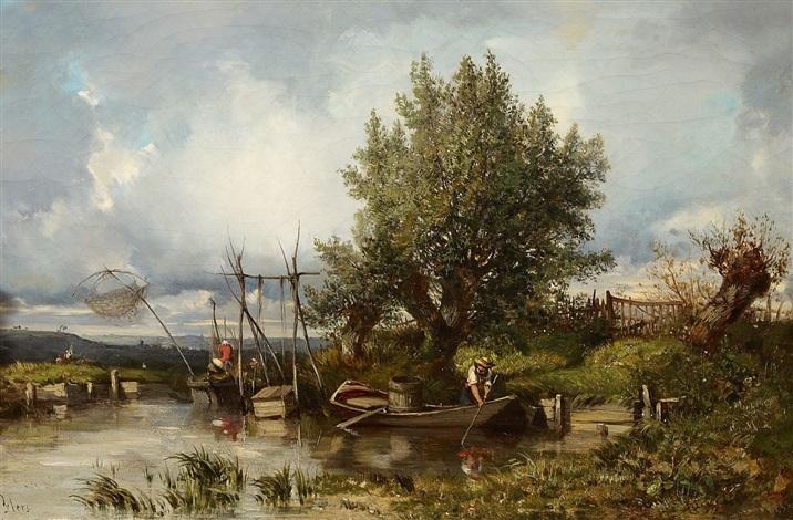 seenlandschaft mit angler by camille flers