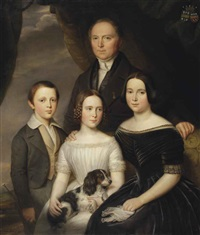 portrait of godefridus andreas melord van middelharnis (1792-1870), standing, together with his wife anna josephina wittert van hoogland (1805-1878)... by jan baptist van der hulst