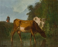 zwei kühe an der tränke an einem sommertag, im hintergrund die hirtin by constant troyon