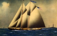 "portrait of the american schooner ""victor and ethan"" passing thatcher island lights by alvaro acores"