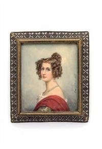 brustporträt einer vornehmen dame mit biedermeierfrisur und roter stola by emanuel thomas peter