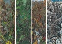 山水四条幅 · 春夏秋冬 (landscape-four seasons) (in 4 parts) by hong ling