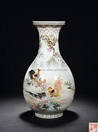粉彩《雄鸡图》盘口玉壶春瓶 by deng xiaoyu