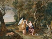der engel erscheint hagar und ismael in der wüste by frans wouters