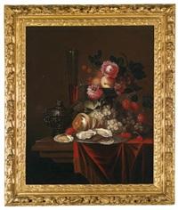 ein stillleben mit früchten, blumen, austern und einem gefüllten weinglas by jacobus van der hagen