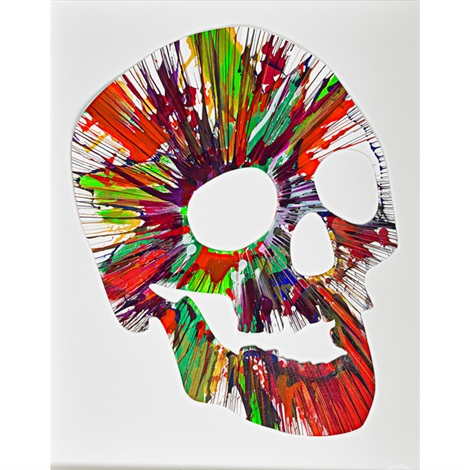 skull spin painting by damien hirst
