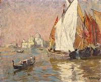 venedig. blick über fischerboote in der lagune auf st. maria della salute by rudolf hellwag