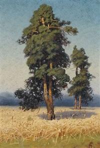 sommerliches kornfeld mit bäumen by georgiy zakharovich bashinzhagyan