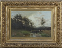 landscape with cattle watering in a stream by arthur parton