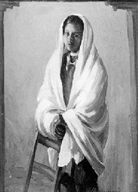 indian woman with white shawl by arthur j. hammond