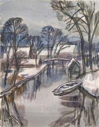 winterlandschaft bei fischerhude by christian modersohn