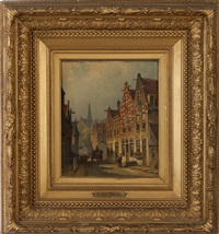 dutch street scene with gabled buildings, villagers and church by eduard alexander hilverdink