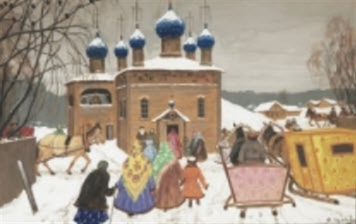 vintermotiv med kyrka by vladimir nikolaevitch aralov