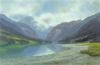 gebirgssee, in dem sich die umliegenden berge spiegeln by kurt vogler