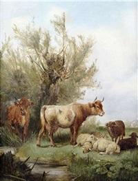 kühe und schafe auf der weide by ludwig sellmayr